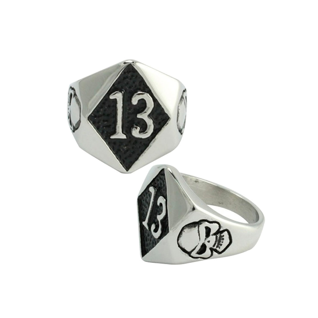 Lucky 13 Skull Accent Stainless Steel Biker Ring