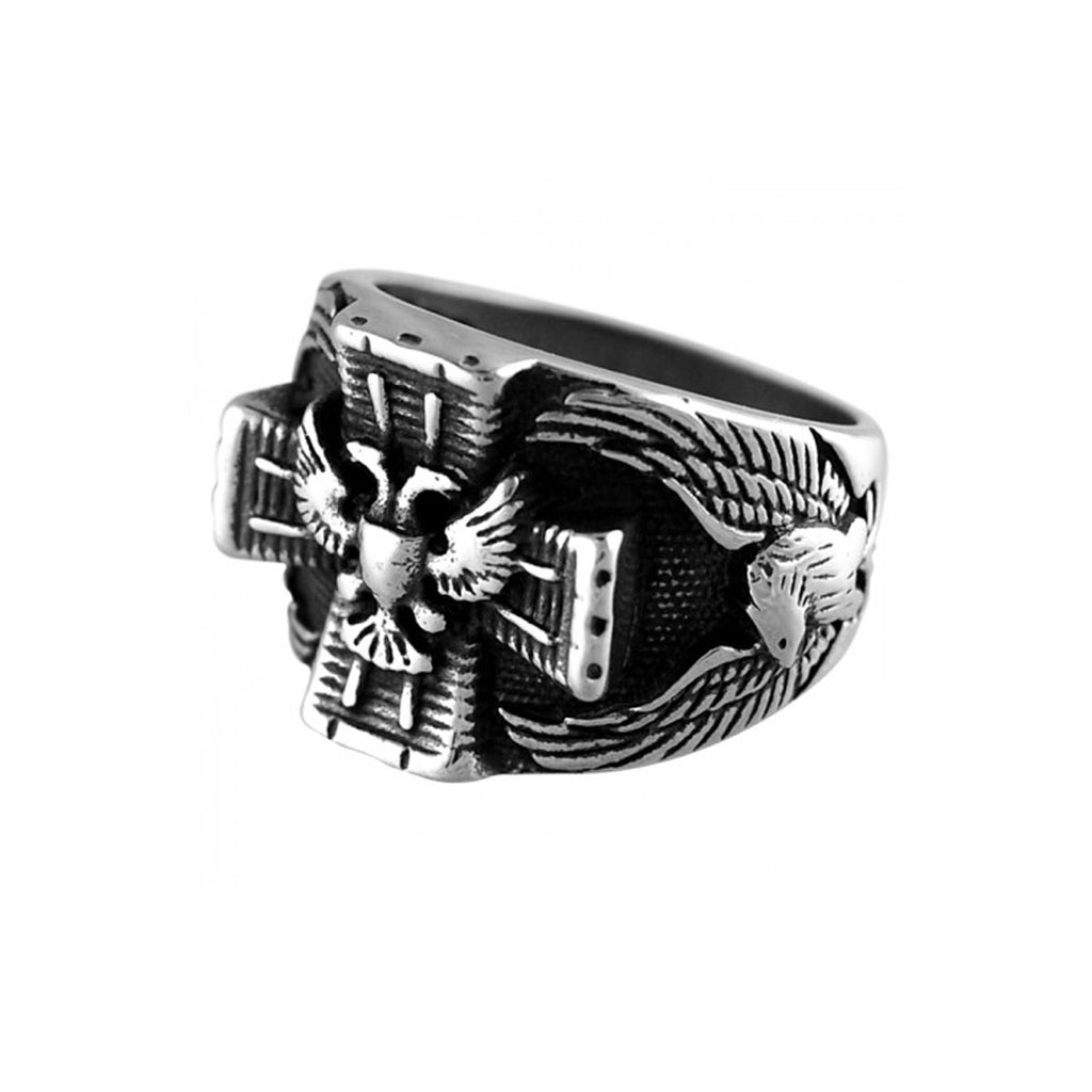 Eagle Cross Wide Band Stainless Steel Biker Ring