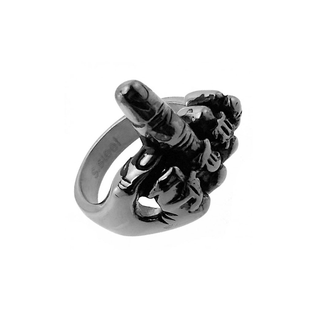 F Off Middle Finger Stainless Steel Biker Ring