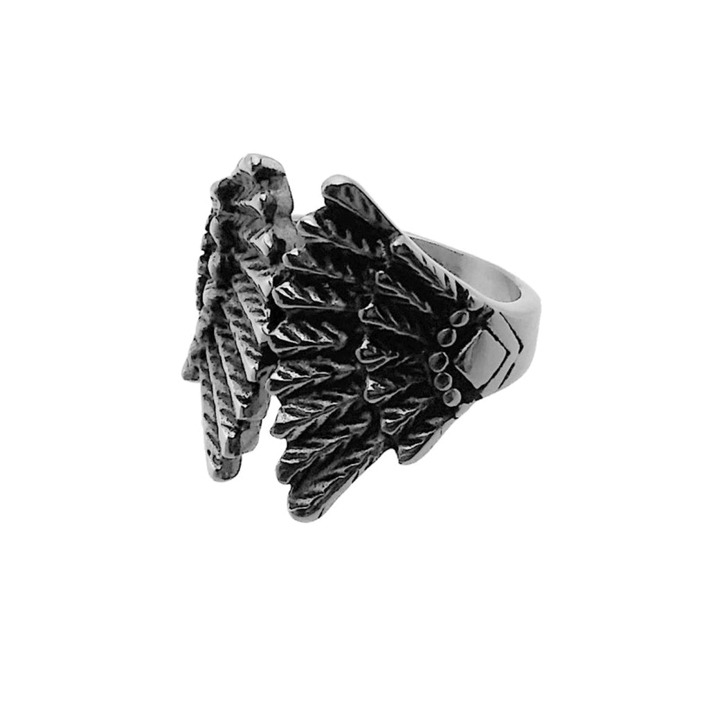 Forever Feathers Stainless Steel Biker Ring
