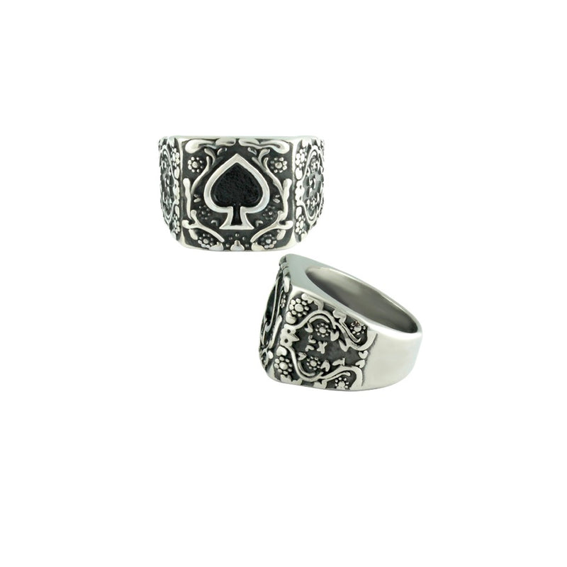 Ace of Spades Stainless Steel Biker Ring