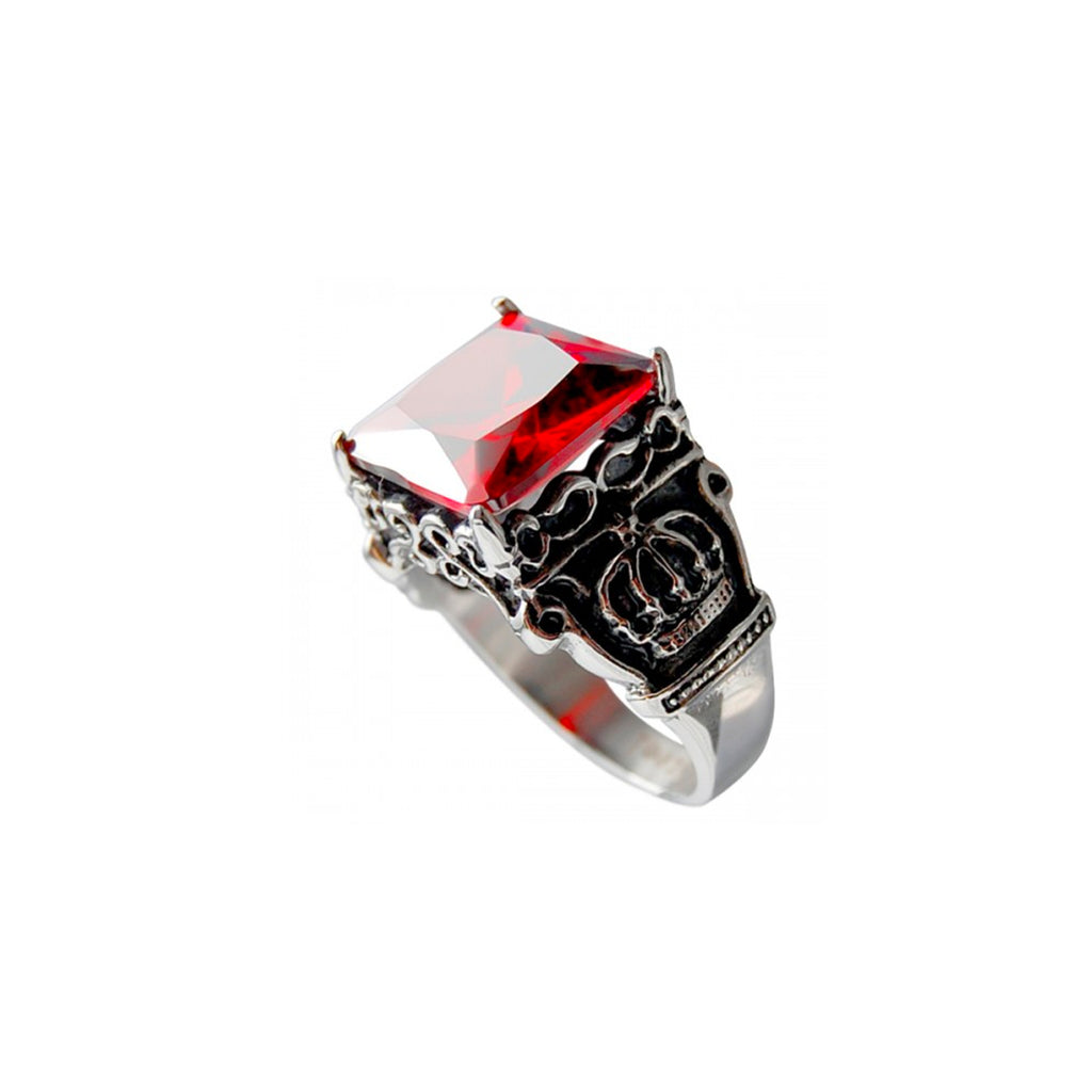 Red Ruby & Royal Crown Square Cast Stainless Steel Biker Ring