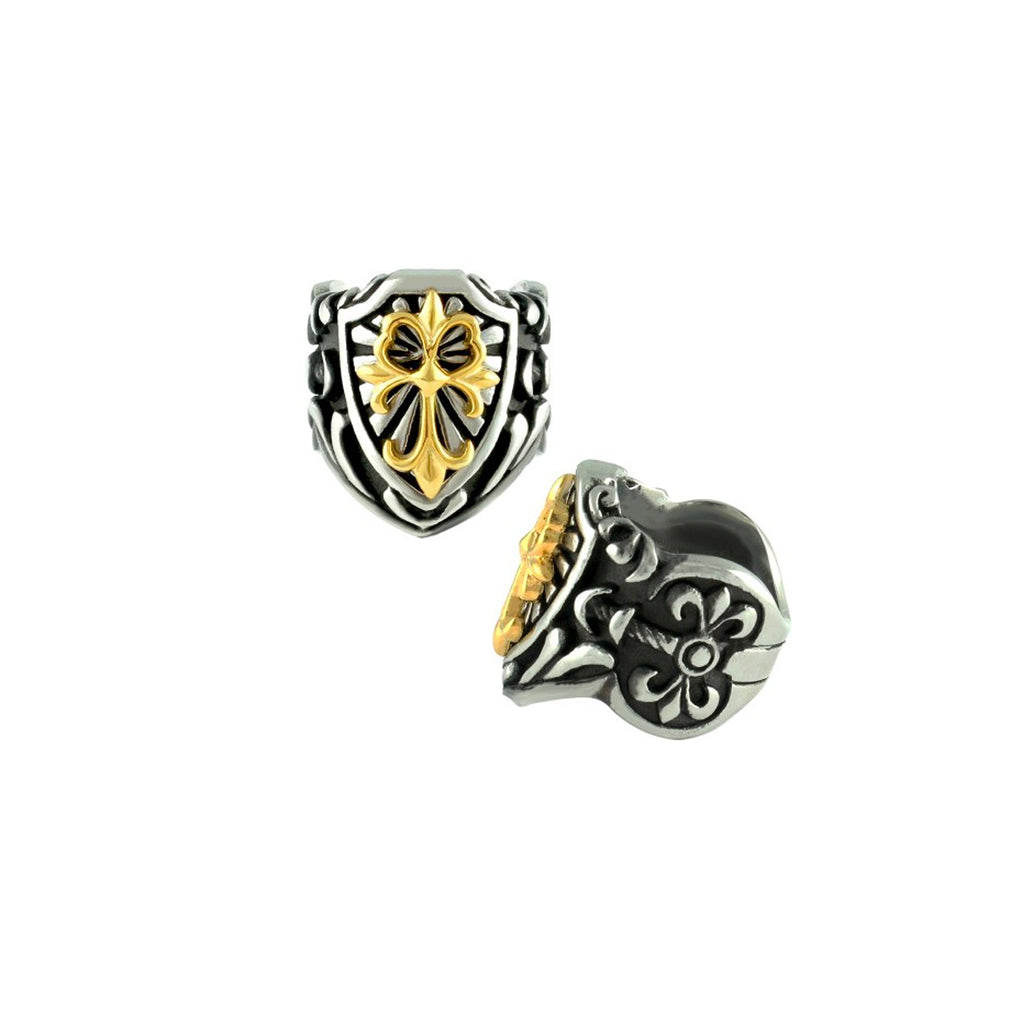 Celtic Gold PVD Cross Stainless Steel Biker Ring