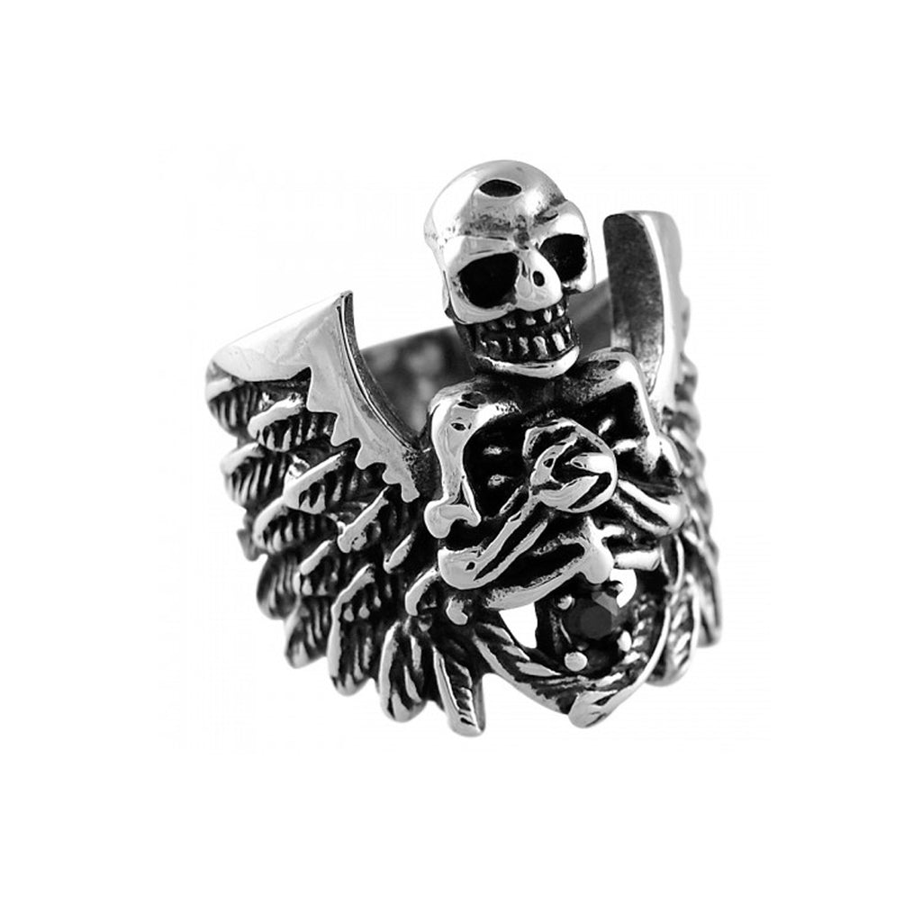 Jet CZ Skeleton Wings Stainless Steel Biker Ring