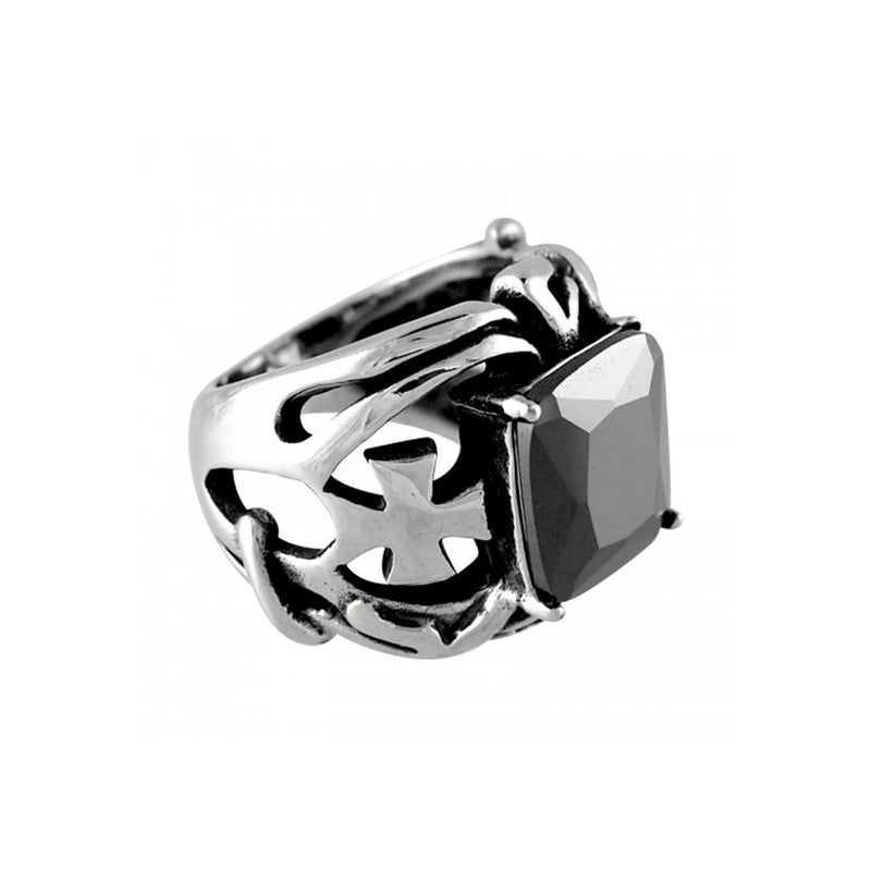 Knight's Templar Black CZ Stone & Maltese Crosses Stainless Steel Biker Ring