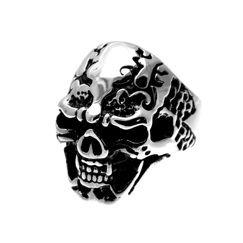 Blowing Smoke Wide Skull Stainless Steel Biker Ring