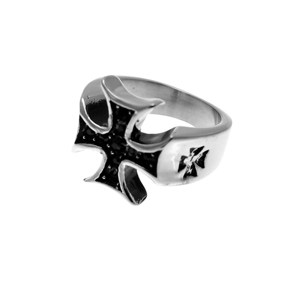 Maltese Cross Stainless Steel Biker Ring