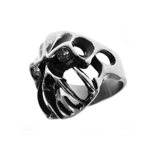Gothic Skull Ring CZ Eyes Stainless Steel Biker Ring