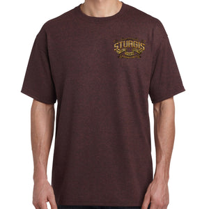 Front of 2019 Sturgis Main Street Engine T-Shirt in Brown