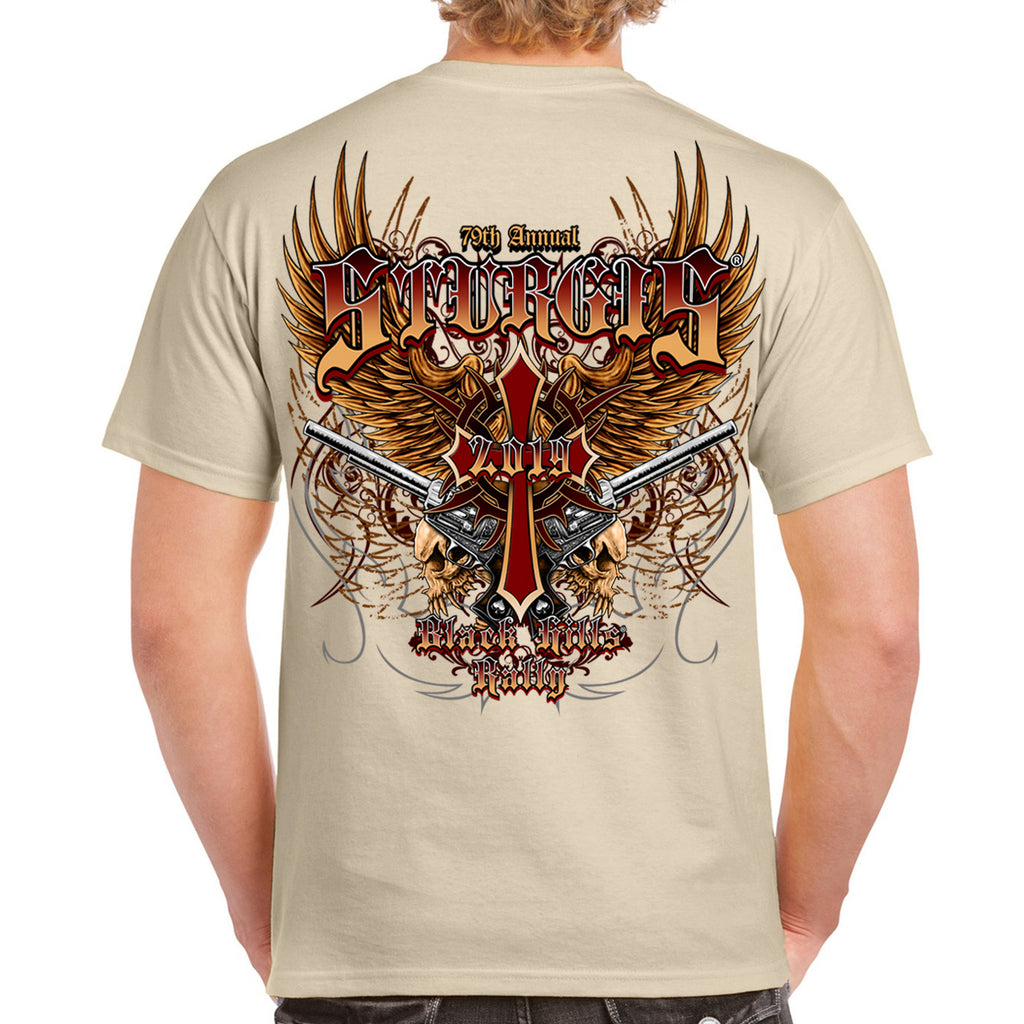 Back of 2019 Sturgis Big Wings Guns T-Shirt in Tan