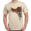 Front of 2019 Sturgis Big Wings Guns T-Shirt in Tan