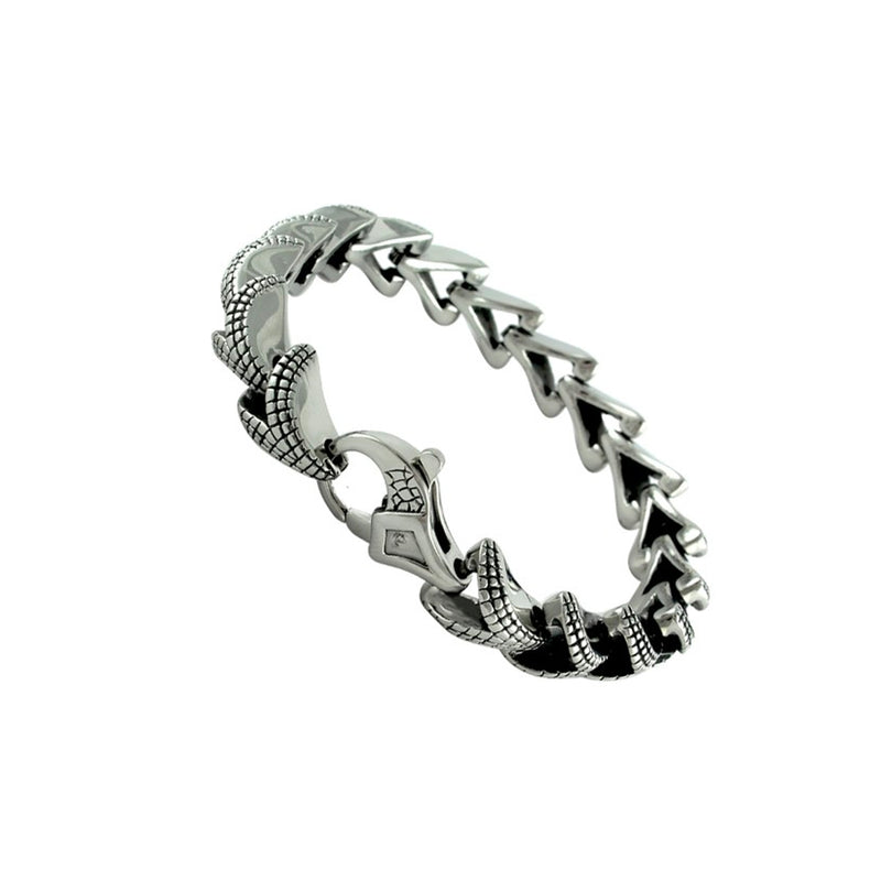Stainless Steel Bracelet With Snake Skin Design