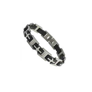 Stainless Steel Black Rubber Steel Cross Link Bracelet