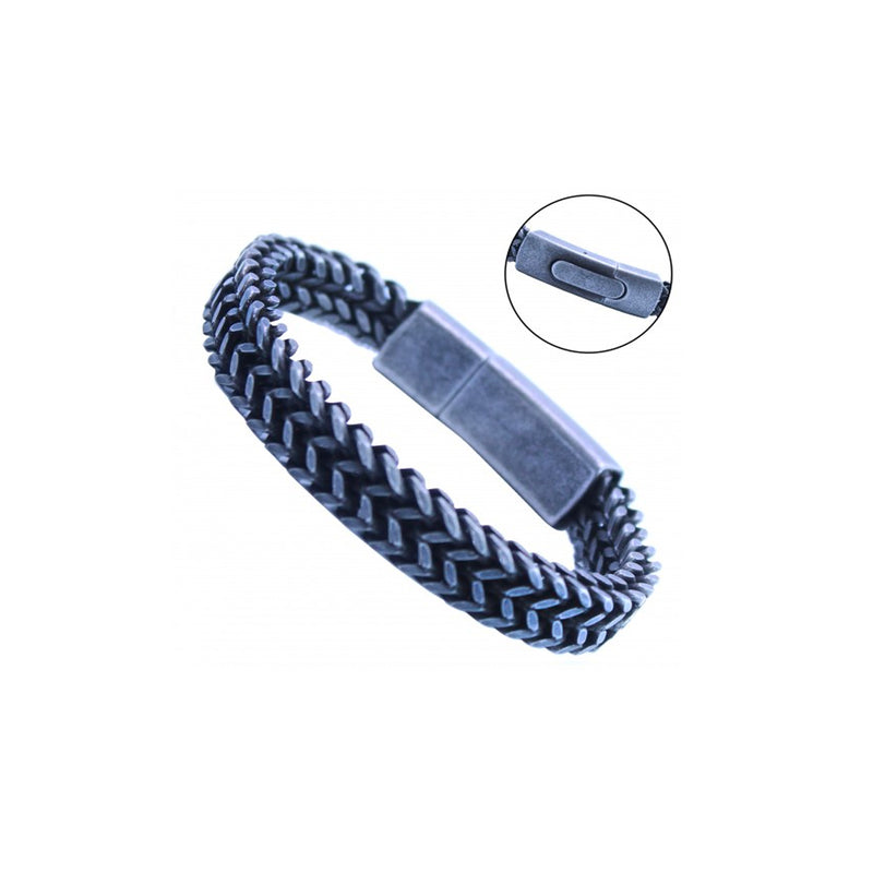 Stainless Steel Gun Color Franco Link Bracelet