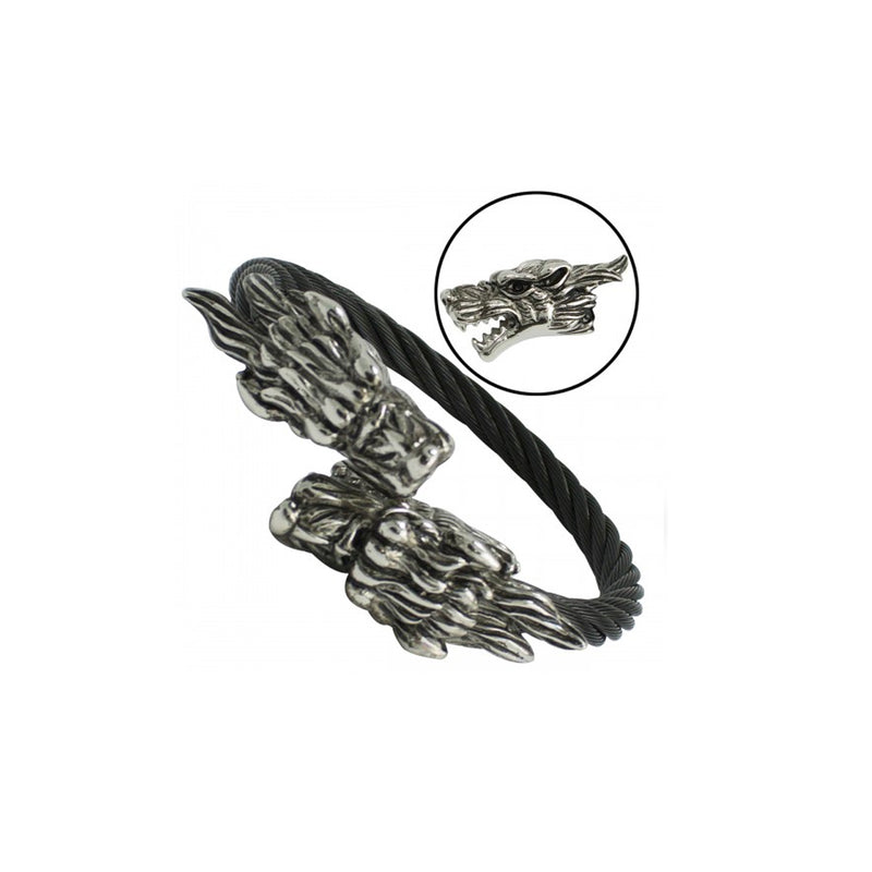 Black Double Dragon Head Stainless Steel Cable Bangle