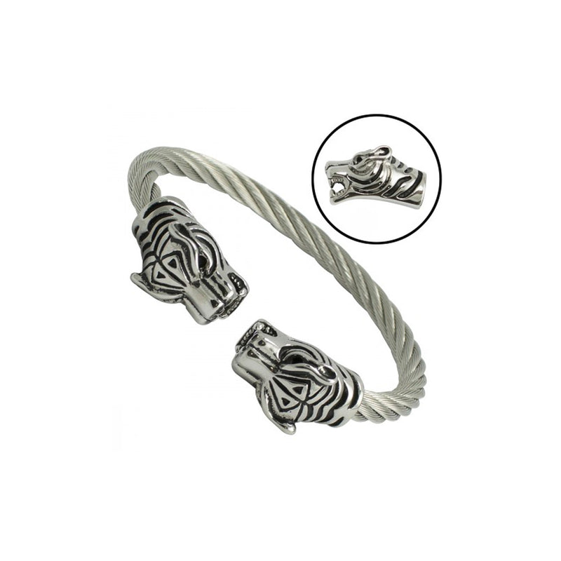 Double Tiger Heads Stainless Steel Cable Bracelet