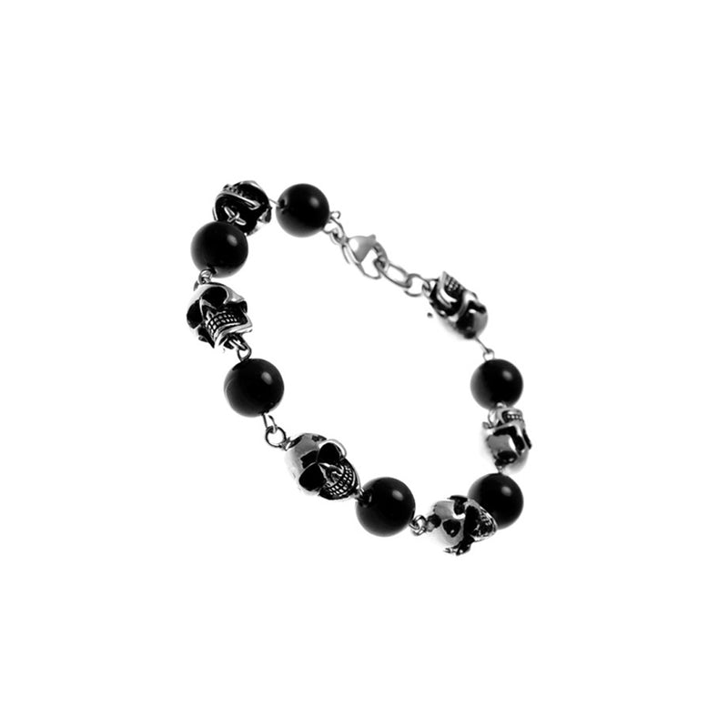 Black Bead Interlock Stainless Steel Skull Heads Bracelet