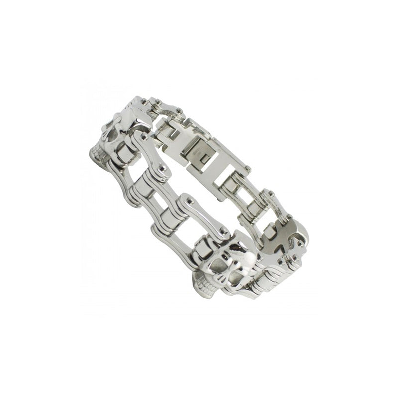Stainless Steel Motorcycle Chain with Skulls Bracelet