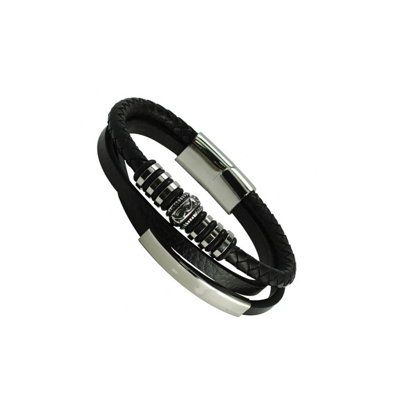 Black Leather Multi Bands With Stainless Steel Bar & Magnetic Clasp
