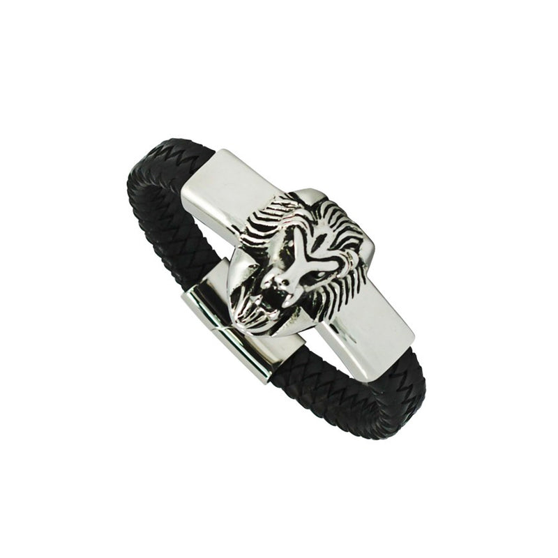 Steel Lion Head Black Leather Braided Bracelet With Magnetic Closure