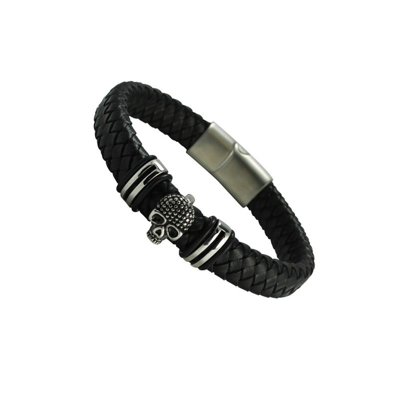 Skull Charm Braided Leather Bracelet With Magnetic Clip