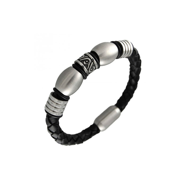Stainless Steel Grooved Wavy Beaded Black Leather Bracelet