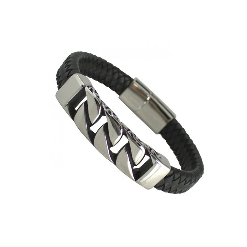 Black Stainless Steel Cuban Link Thick Leather Bracelet With Magnetic Clasp