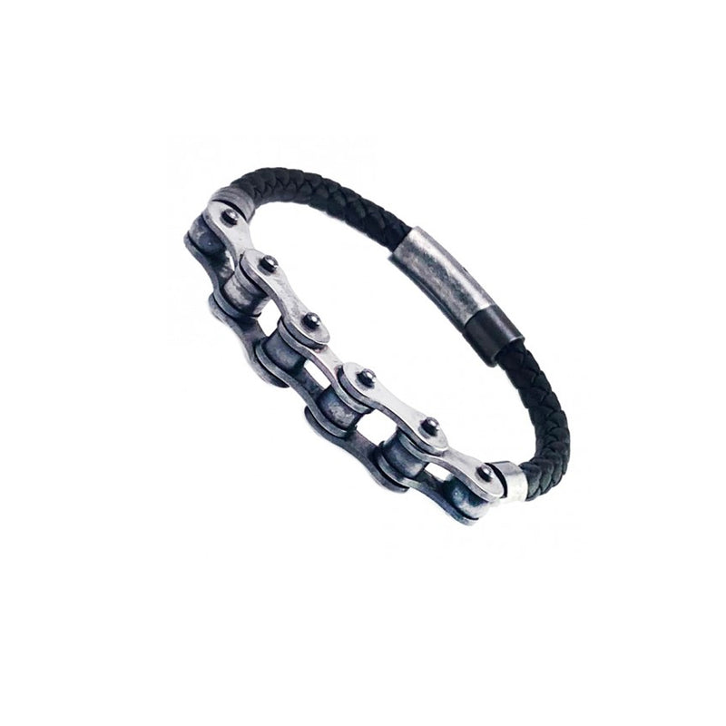 Gun Metal Bike Chain Black Braided Leather Letter Bracelet
