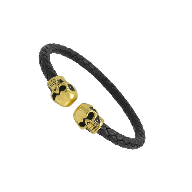 Gold Skull Black Leather Bracelet