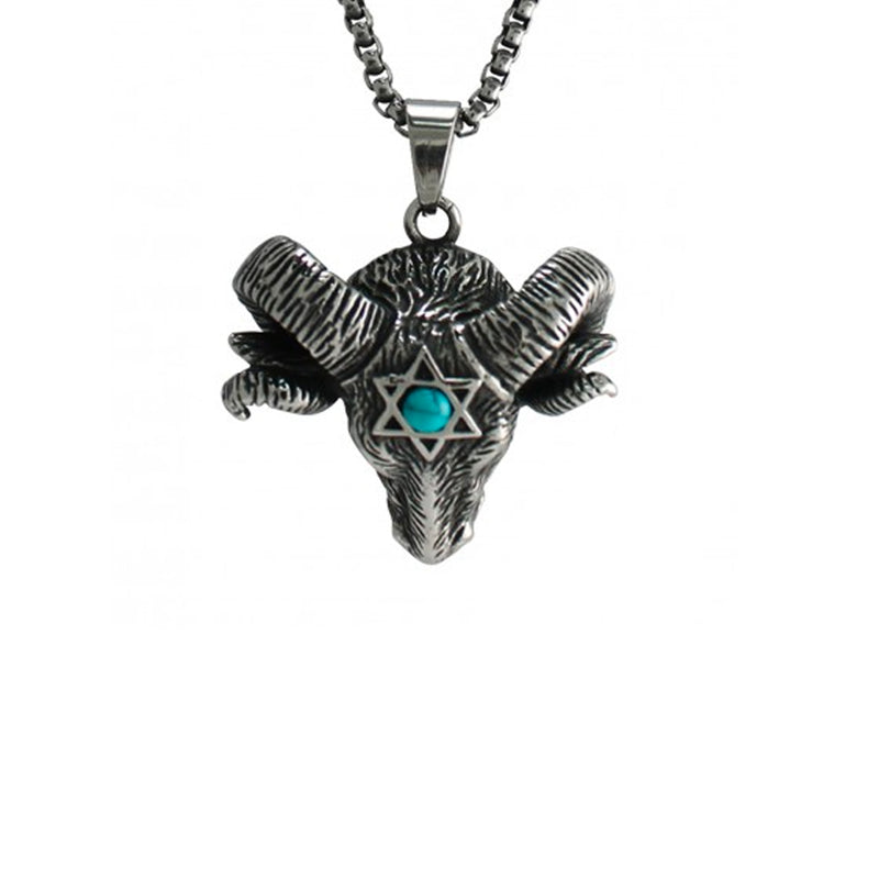 Turquoise Ram Stainless Steel Necklace