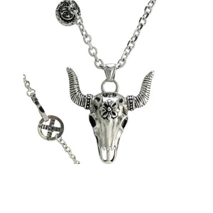 Stainless Steel Bull Head Skull Pendant Rolo Chain Necklace