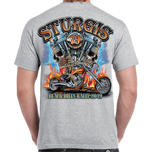 Back of 2019 Sturgis Skull Engine Rider T-Shirt in Gray