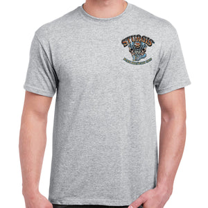 Front of 2019 Sturgis Skull Engine Rider T-Shirt in Gray