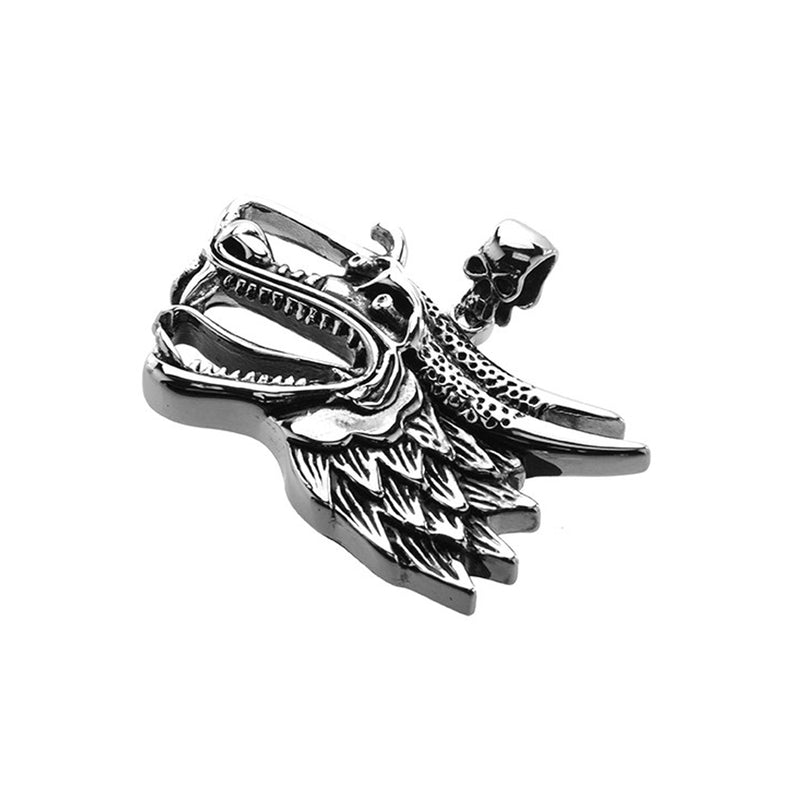 Stainless Steel Dragon Head Skull Bail Pendant
