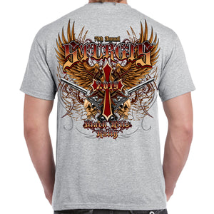 Back of 2019 Sturgis Big Wings Guns T-Shirt in Sport Gray
