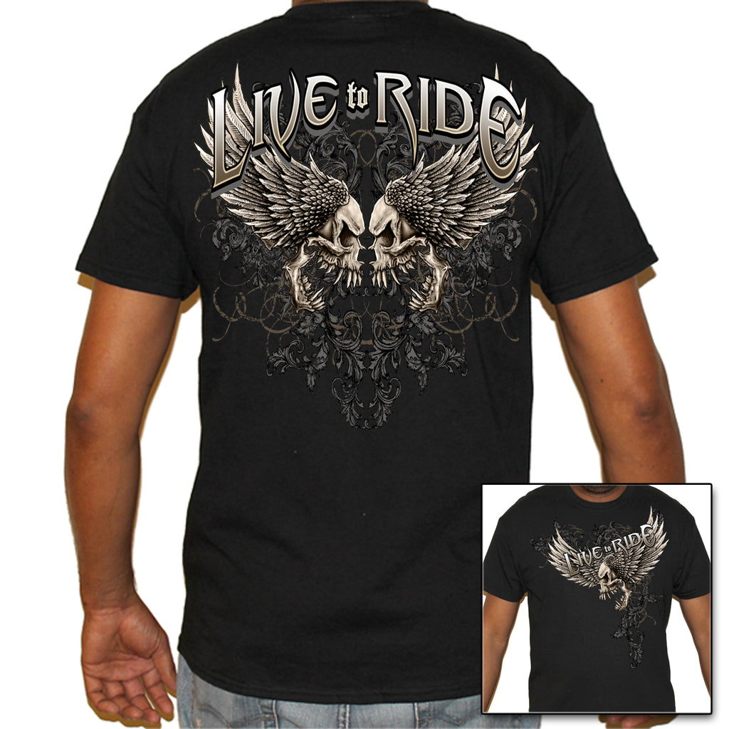 Live To Ride Monster Skull T-Shirt