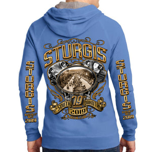 ck of 2019 Sturgis Main Street Engine Zipper Hoodie in Blue