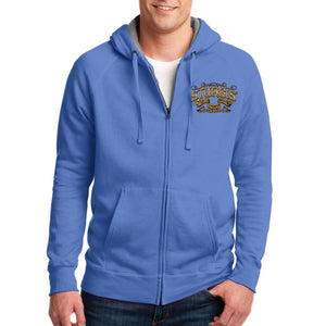 Front of 2019 Sturgis Main Street Engine Zipper Hoodie in Blue