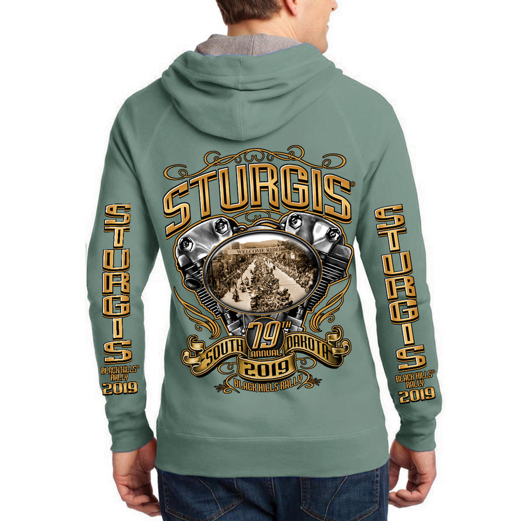 Back of 2019 Sturgis Main Street Engine Zipper Hoodie in Green
