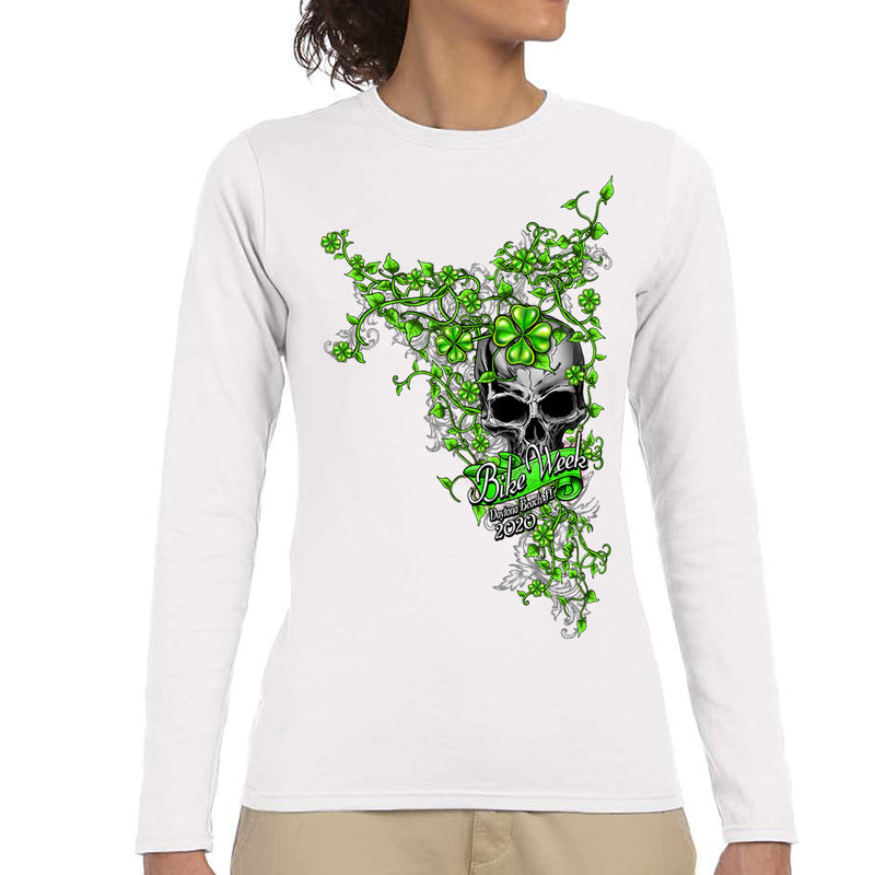 Ladies 2020 Bike Week Daytona Beach Skull Clover Long Sleeve Shirt