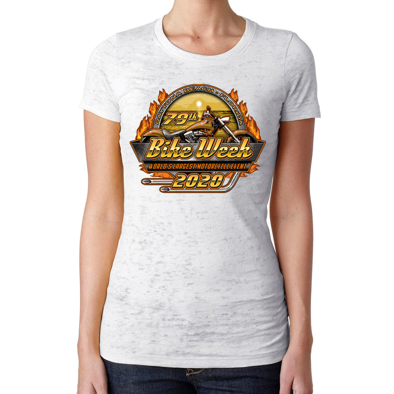 Ladies 2020 Bike Week Daytona Beach Official Logo Burnout T-Shirt