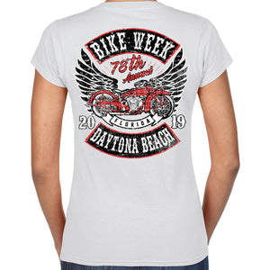 Ladies 2019 Bike Week Daytona Beach Rocker Billy V-Neck T-Shirt