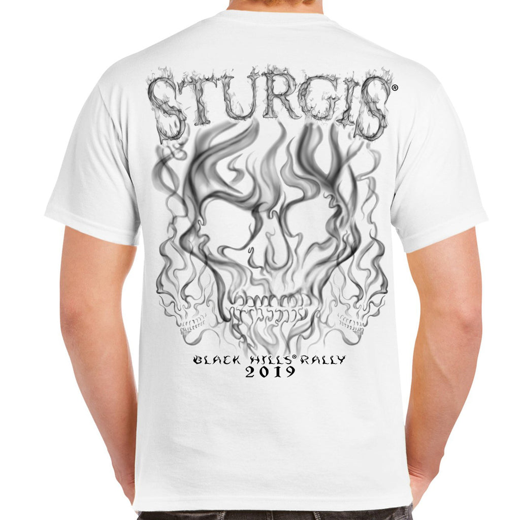 Back of 2019 Sturgis Smoke Skull T-Shirt in White