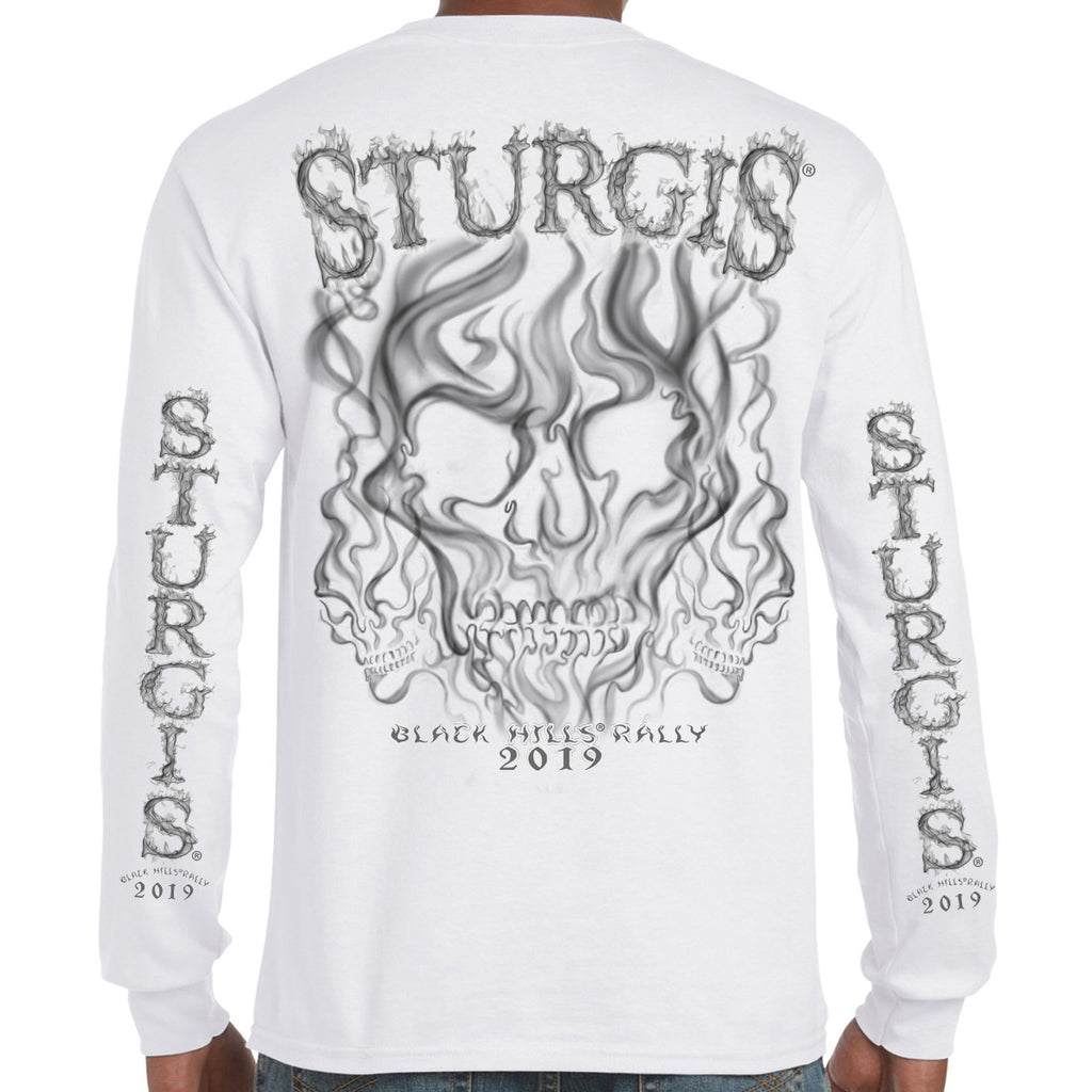 Back of 2019 Sturgis Smoke Skull Long Sleeve in White