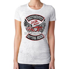 Ladies 2018 Biketoberfest Daytona Beach Rocker Billy Burnout T-Shirt