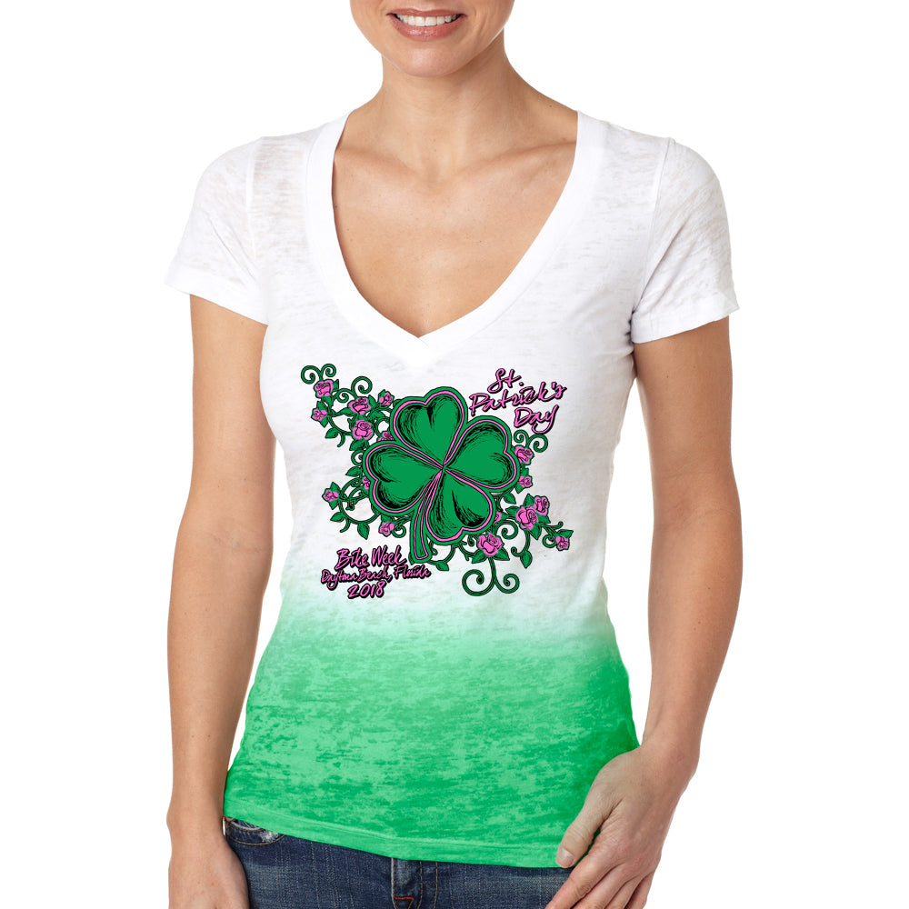 Ladies 2018 Bike Week Daytona Beach St Patty's Ombre Burnout V-Neck T-shirt