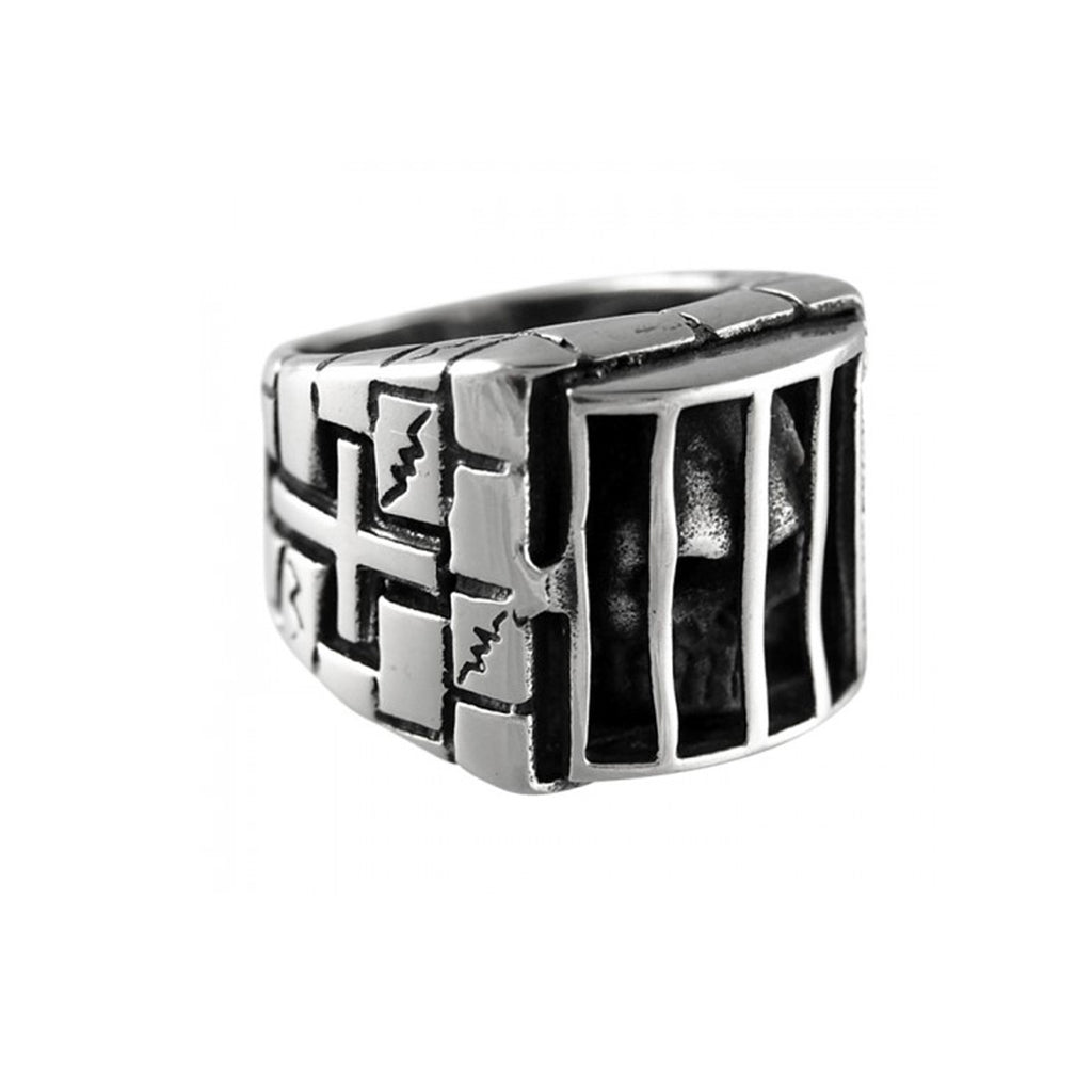 Skull Behind Bars Stainless Steel Biker Ring