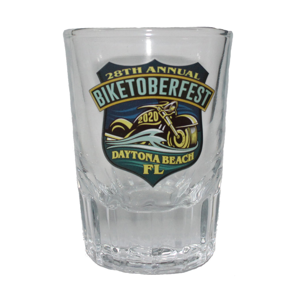 2020 Biketoberfest Daytona Beach Official Logo Whiskey Shot Glass