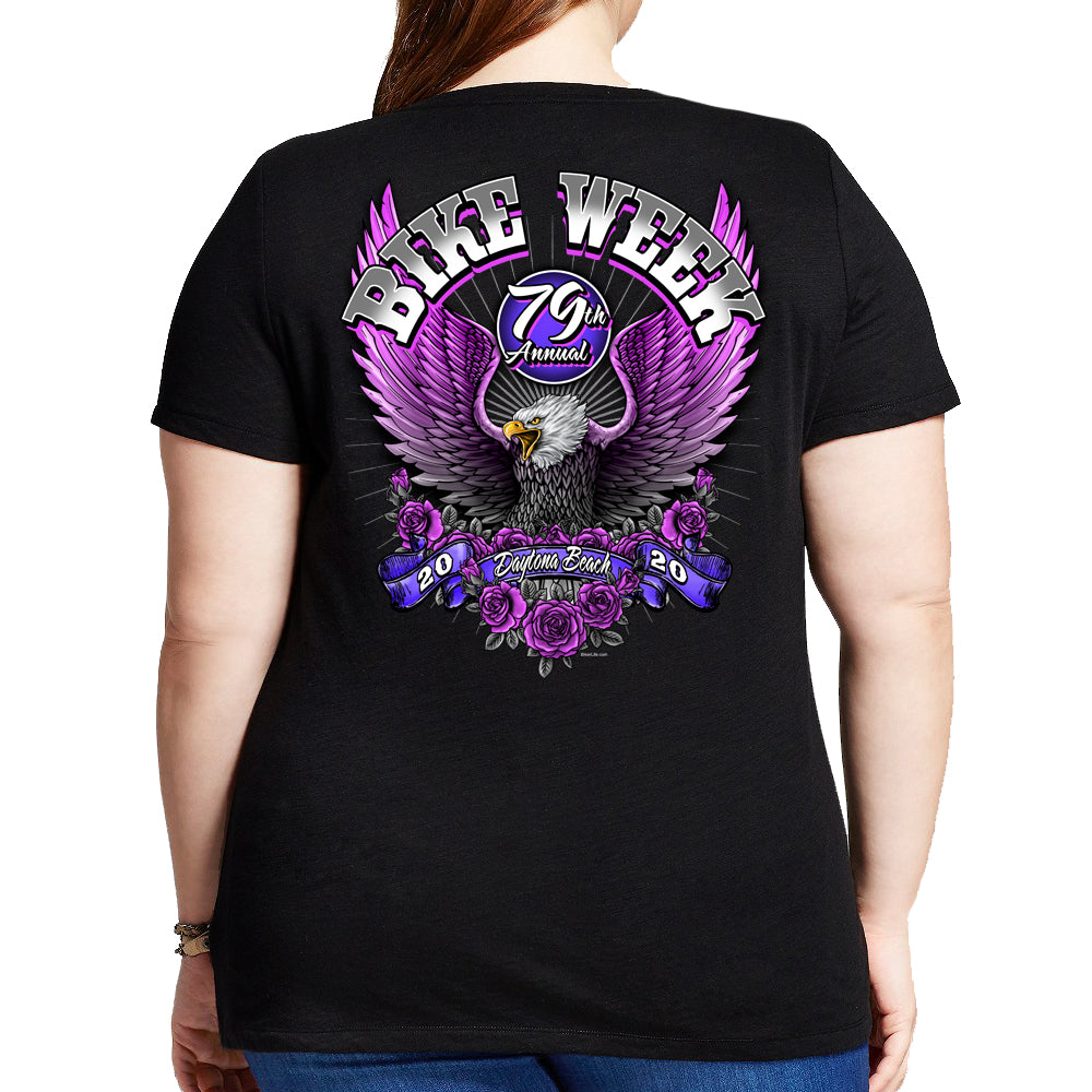 2020 Bike Week Daytona Beach Pink Eagle Misses Plus Scoop Neck T-Shirt
