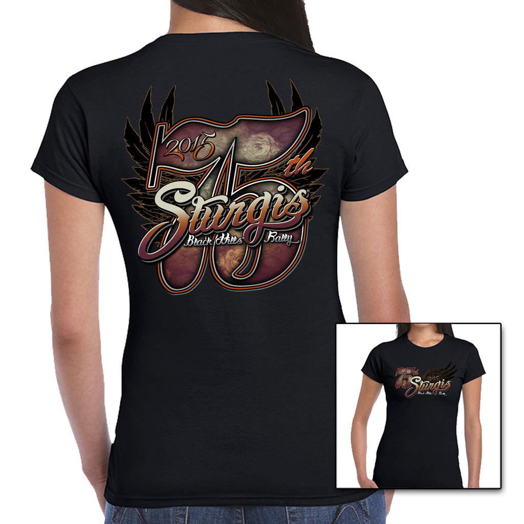 Ladies Big 75th 2015 Sturgis Cap Sleeve Tee